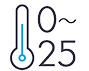 Temperature selection available in 1°C increments between 0°C and 25°C